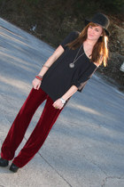 crimson velvet thrifted goodwill pants - black Jeffrey Campbell boots