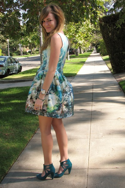 ivory Zara dress - turquoise blue seychelles heels