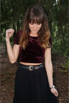 maroon Forever 21 top - black Forever 21 skirt - black thrifted vintage belt