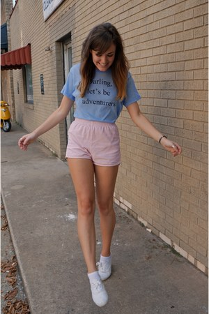 white Keds shoes - sky blue wildfox couture shirt