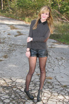 sweater - boots - tights - shorts - top - accessories