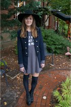 navy Forever 21 coat - black Jeffrey Campbell boots - gray wildfox couture dress