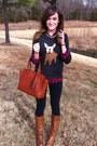 Light-brown-the-buckle-boots-dark-gray-j-crew-sweater-red-plaid-j-crew-shirt