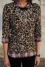 Light-brown-forever-21-sweater-red-plaid-j-crew-shirt-black-forever-21-pants