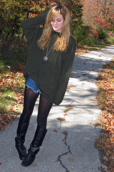 army green thrifted Goodwill sweater - black Chinese Laundry boots