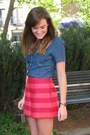Hot-pink-striped-asos-shorts-navy-chambray-j-crew-top