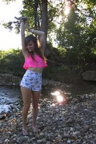 pink American Apparel top - white Goodwill and diy shorts - silver Forever21 nec