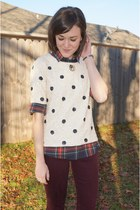 navy plaid J Crew top - cream polka dot J Crew top