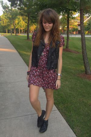black Target vest - pink Forever21 dress - black thrifted boots - silver Forever