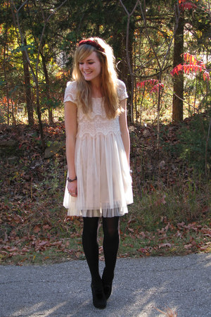 crimson headband Leah LaRue accessories - cream Forever21 dress