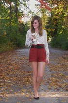 black thrifted belt - burnt orange Forever 21 shorts - ivory Forever 21 top