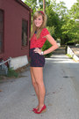 Navy-high-waisted-cooperative-shorts-red-peterpan-collar-urban-outfitters-top