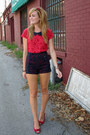 Navy-high-waisted-cooperative-shorts-red-payless-wedges