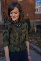army green camo J Crew top - navy abercrombie and fitch pants