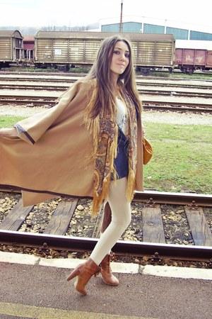 brown pull&bear boots - beige Zara leggings - jeans Zara blazer - yellow Mango s