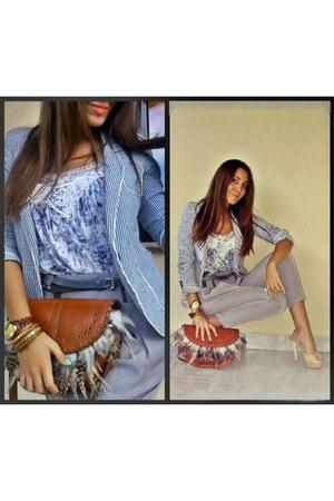 feather Parfois bag - striped Zara blazer - grey Zara pants