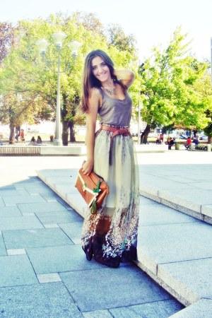 floral print vintage skirt - light brown Primark bag - Zara top