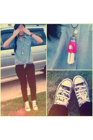 thrifted top - Converse shoes - Mossimo jeans - thrifted necklace