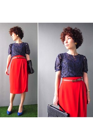 red pencil skirt skirt - navy lace blouse blouse