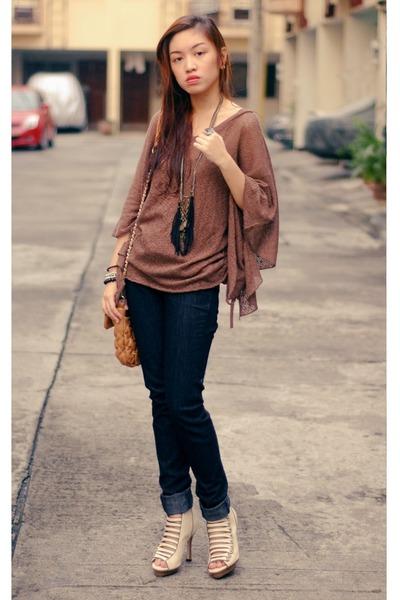 Brown Tops, Black Jeans, Beige Belts, Shoes, Black Necklaces ...