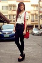 coach bag - highwaist shorts - wedges - blouse - ruckus accessories