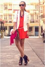 Red-dress-white-zara-blazer-hot-pink-fringe-bag-black-parisian-heels-ruc