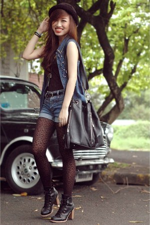 black laceup boots - black leopard print tights - navy vest - ruckus accessories