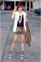 vintage vest - shirt - shorts - sm department store shoes - ruckus accessories
