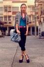 Gray-printed-blazer-sky-blue-studded-satchel-bag-navy-gift-from-my-bf-wedges