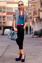 printed blazer - studded satchel bag - g2000 harem pants - gift from my bf wedge
