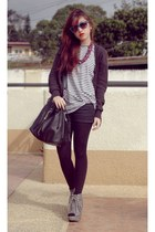 heather gray parisian wedges - striped topman shirt - gray promod cardigan