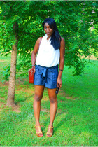 forever 21 blouse - forever 21 shorts - thrifted accessories - gift shoes