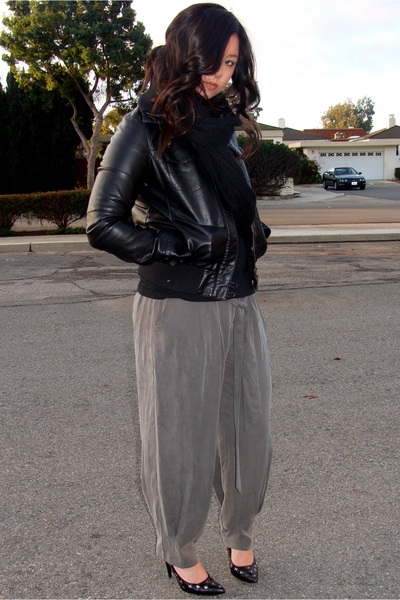 black James Perse shirt - black Forever21 jacket - gray love21 pants - black ban