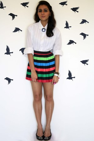 cotton textured Rajesh Pratap Singh shirt - pleated skirt H&M skirt