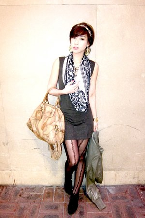 green Mango dress - mustard Prada bag - black Salvatore Ferragamo scarf - black