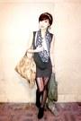 Green-mango-dress-mustard-prada-bag-black-salvatore-ferragamo-scarf-black-