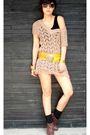 Brown-chocolate-dress-black-topshop-top-blue-topshop-shorts-gold-bcbg-belt