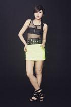 lime green Glitterati skirt - black Glitterati top - black Grommet by Glitterati