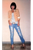 Jessica blazer - Topshop top - Vintage from Mom belt - Hippie jeans - Charles &