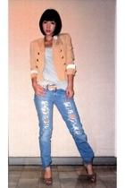 Jessica blazer - Topshop top - Vintage from Mom belt - Hippie jeans - Charles &