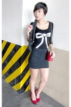 black Promod sweater - black Zara skirt - red zoo shoes - red Paloma Picasso pur