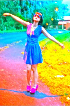 pink dress - Topshop shoes - Mango bra