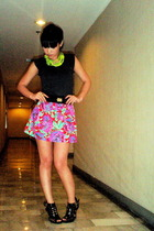 Topshop top - random necklace - Bazaar belt - Poisonberry skirt - zoo shoes
