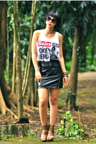 black Glitterati skirt - brown zoo shoes - white Mafia top