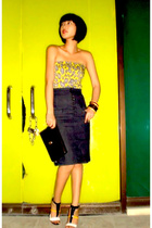 yellow Topshop top - yellow Stellaluna shoes - black christian dior bag
