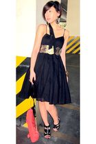 black Topshop dress - gold BCBG belt - black michael antonio shoes - pink Audrey