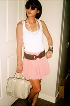 Topshop top - Zara belt - Folded n Hung skirt - Louis Vuitton purse - Syrup shoe