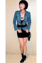 blazer - dress - purse - shoes - belt