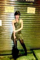 gold Glitterati dress - black Aldo boots - black Terranova bag - gold Glimmer by