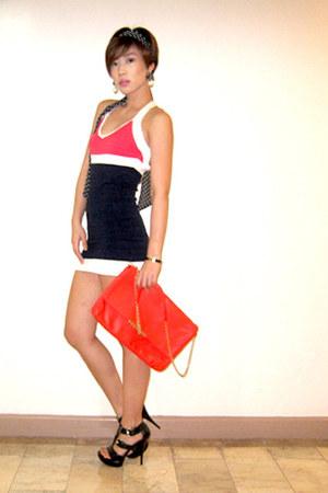navy pearl H&M earrings - red Zara bag - red knitted dress Forever21 heels